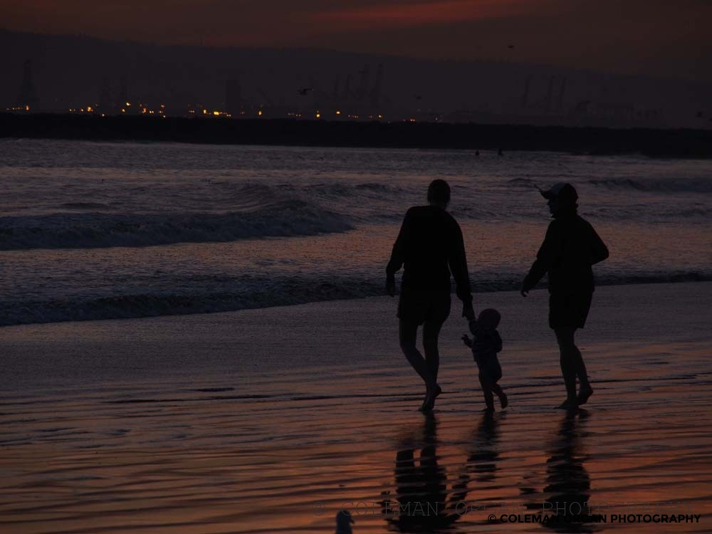 Family at Long Beach Sunset
